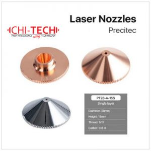 Precitec A 1 SL H15 Cloudray fiber laserske dizne (A tip Precitec) SINGLE layer, (Kromirane), Dia. 28mm, visina 15mm, kalibar 0.8-6.0mm, Navoj M11, Chitech fiber laseri