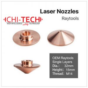 Raytools A1 SL-D32 Cloudray fiber laserske dizne (A tip Raytools) SINGLE layer, Dia. 32mm, visina 15mm, kalibar 0.8-6.0mm, M14 navoj, Chitech fiber laseri