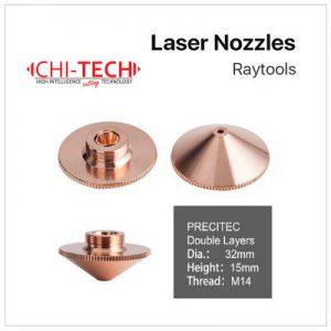 Raytools A4 Cloudray fiber laserske dizne (A tip Raytools) DOUBLE layer-kromirane Dia. 32mm, visina 15mm, kalibar 0.8-6.0mm, M14 navoj, Chitech fiber laseri